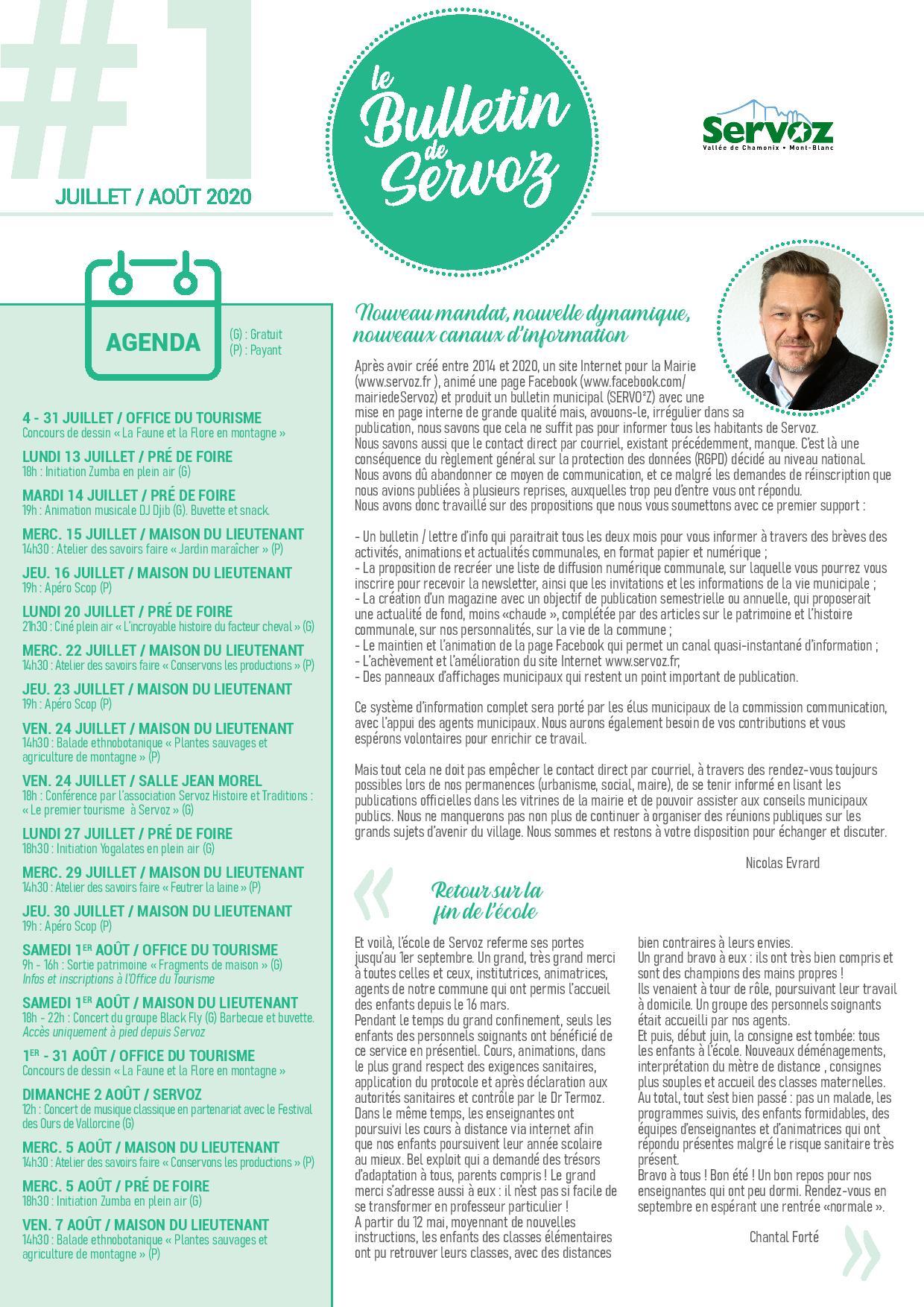 Bulletin de Servoz - Juillet / Août 2020
