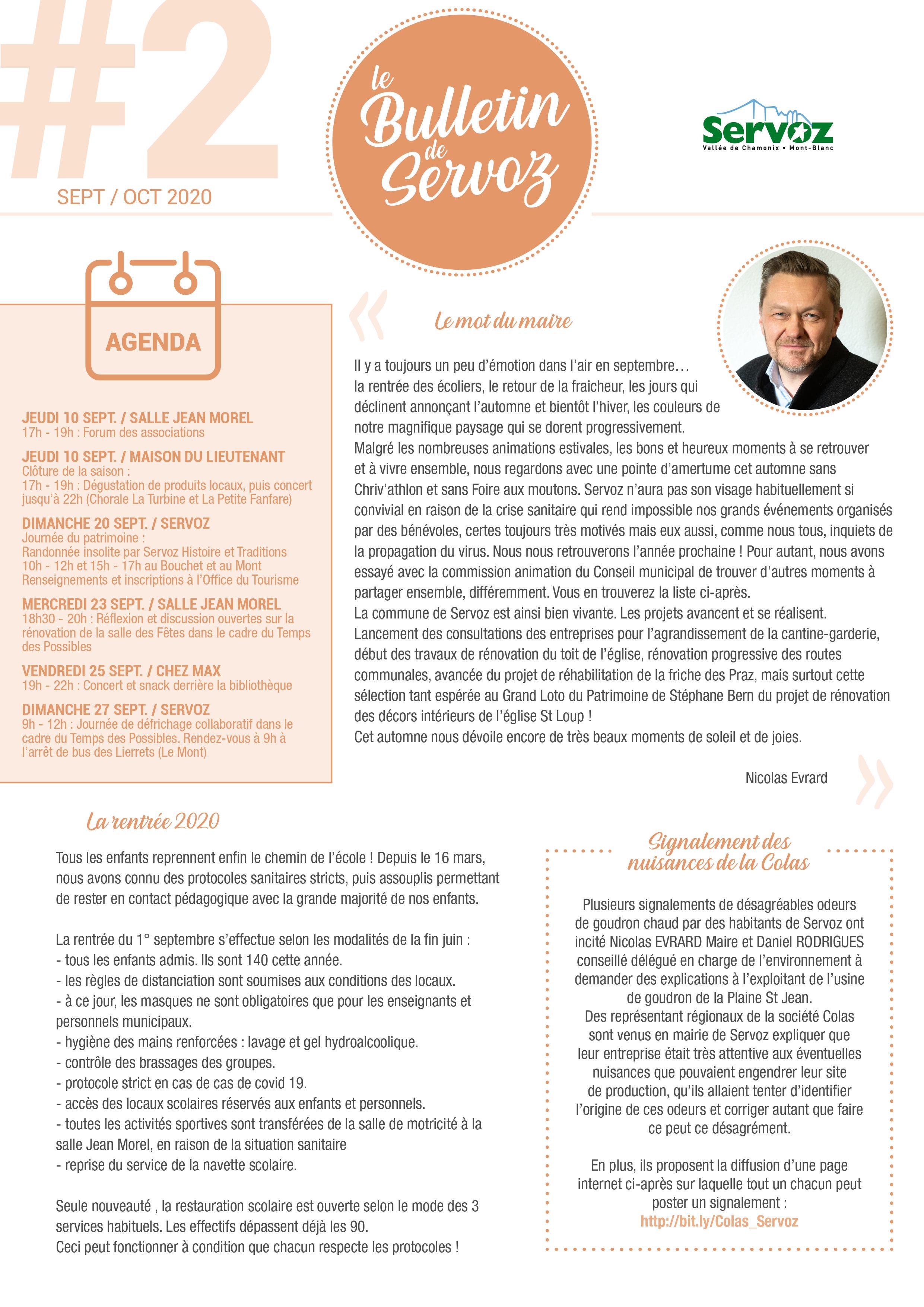 Bulletin de Servoz - Septembre / Octobre 2020